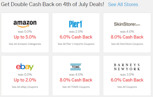 Your homepage shows featured stores and how much you can save using Ebates.