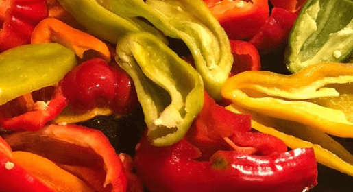 Fresh peppers grown on a hobby farm