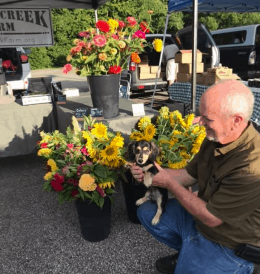 selling flowers at the farmer's market